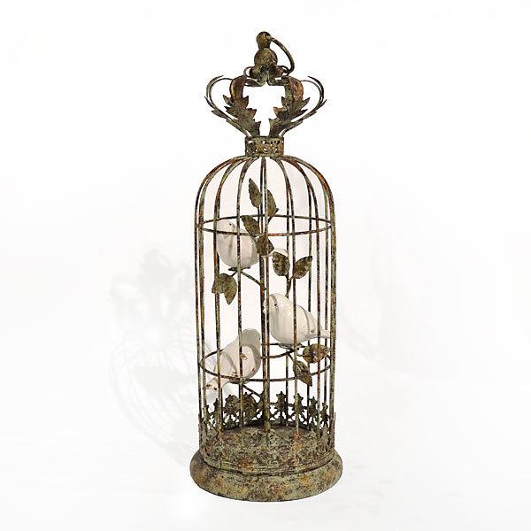 Birdcage w/Porcelain Birds