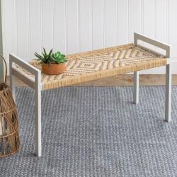 Natural Fiber Woven Bench