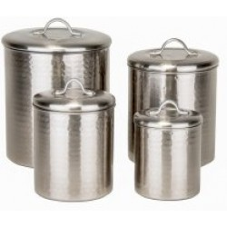 4 Pc. Brushed Nickel Hammered Canister