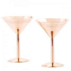 Set of 2 Solid Copper Martini Glasses