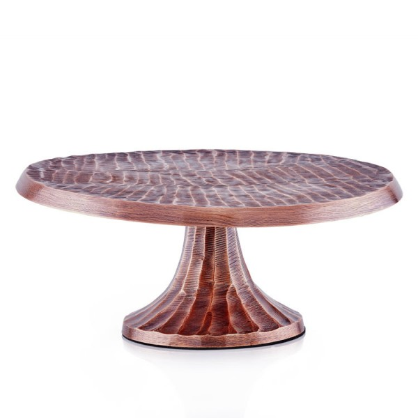 """Tribal"" Antique Copper Finish Aluminum Cake Stand"